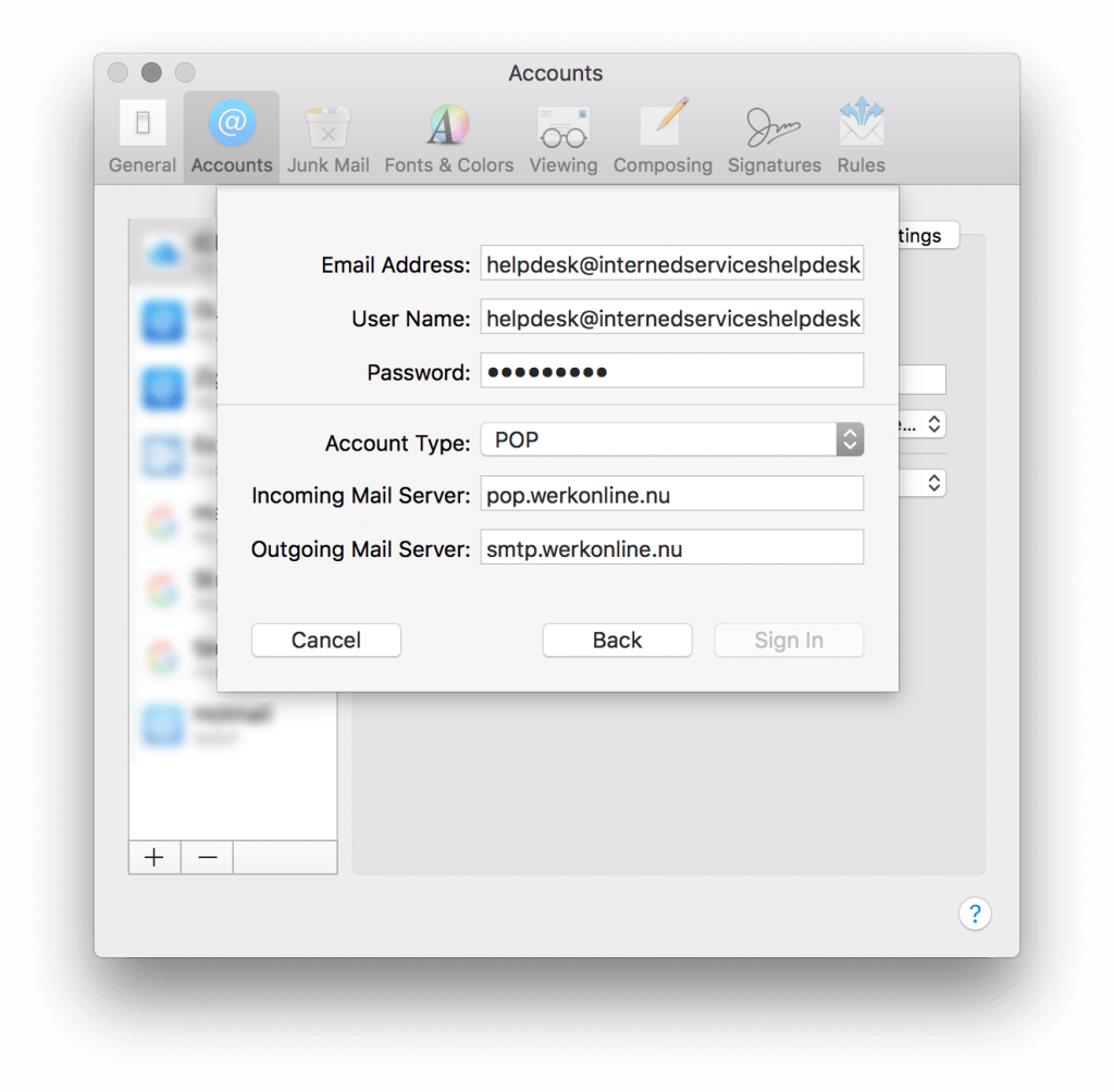 Mail instellen in MacOS High Sierra - stap 7