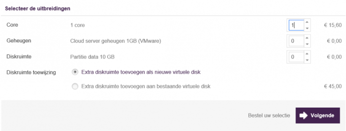 Cloud Server upgraden in Mijn.is.nl - stap 5b